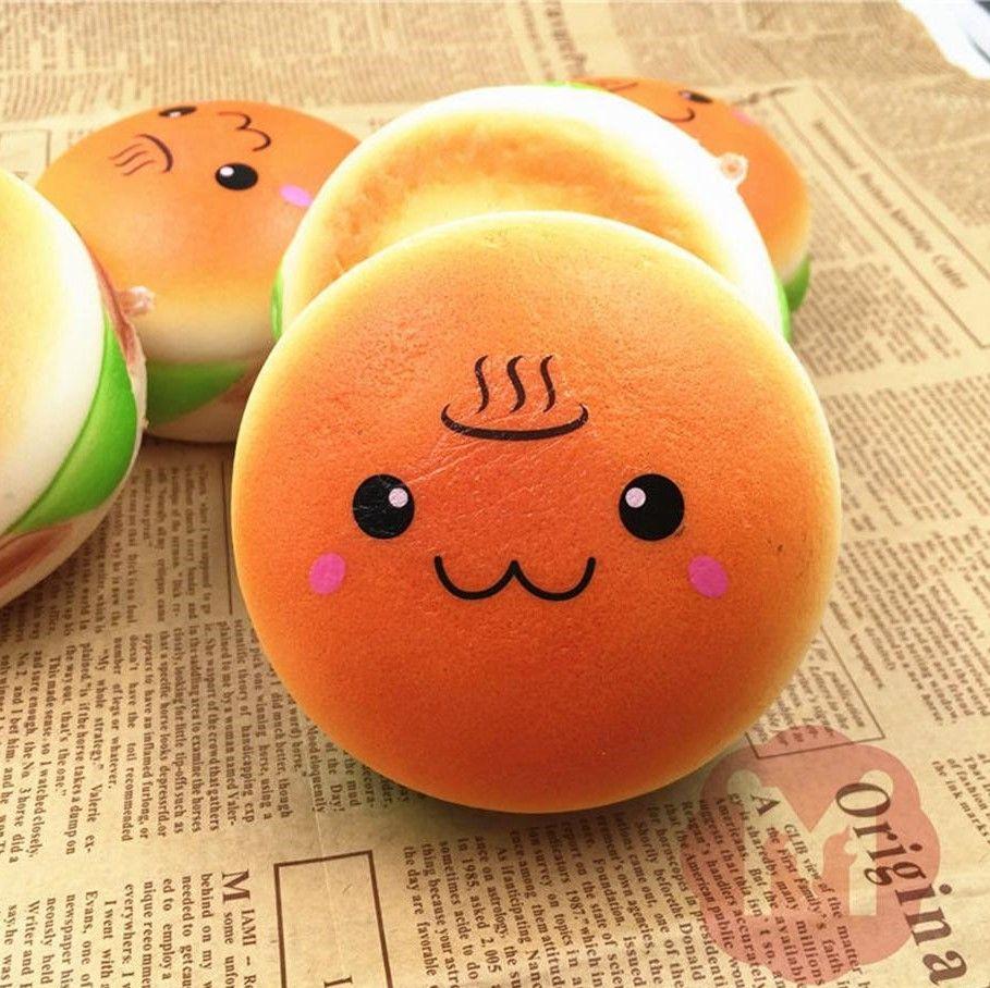 10cm Cute Jumbo Soft Squishy Smile Hamburger Charms Slow Rising Kawii Kids Toy Emoji Phone Straps para la decoración del teléfono celular