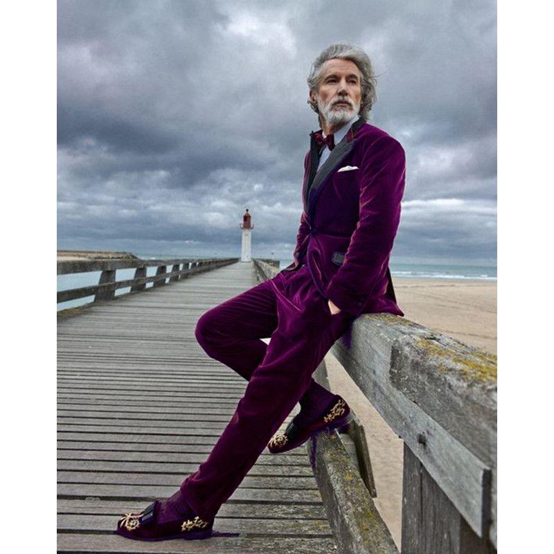 5e4dc044c Compre 2017 Terciopelo Púrpura Slim Fit Hombres Traje Blazers Padrinos De  Boda Esmoquin Prom Casual Terciopelo Mens Trajes De Novia De Boda Ropa  Jacket + ...