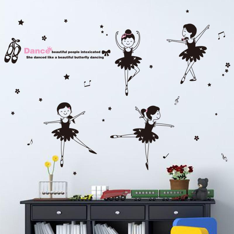 shijuehezi removable little girl dancer wall stickers vinyl diy wall