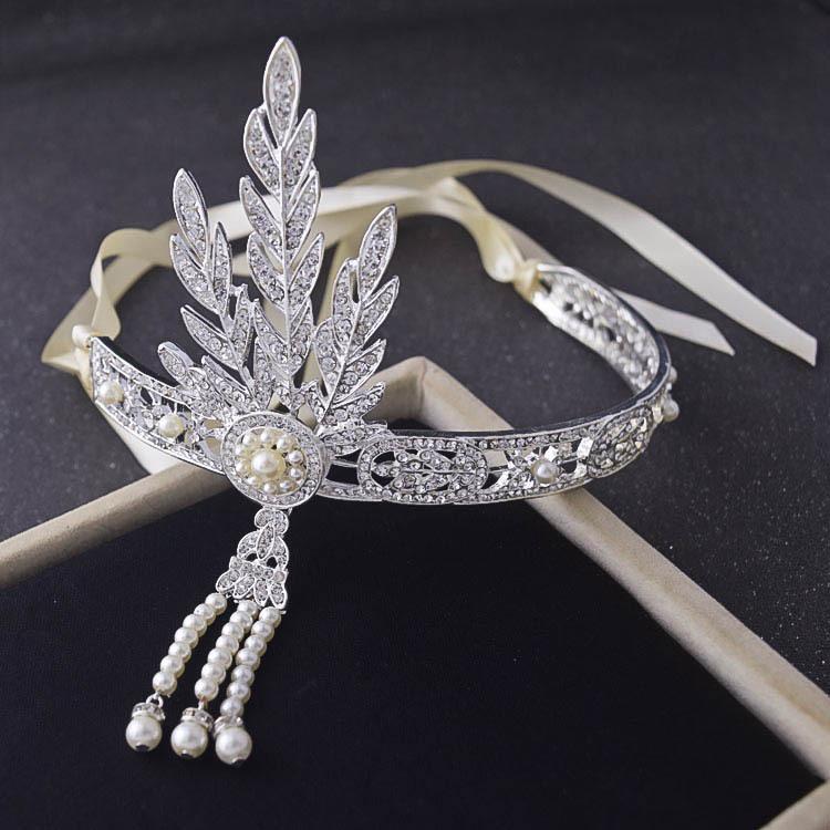 Silver Flapper 1920s Great Gatsby Rhinestone Headband Headpiece Bridal  Wedding Retro Daisy Buchanan Costume Bride Hair Jewelry