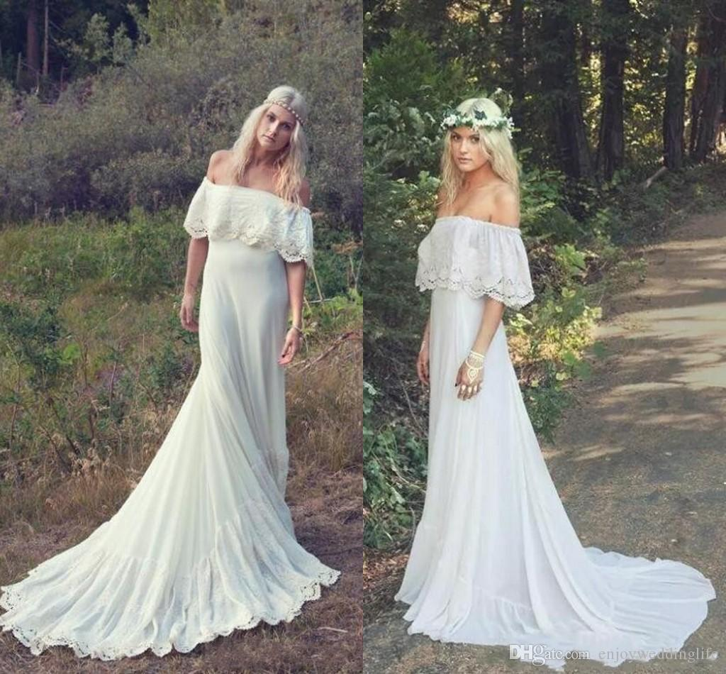 Boho Wedding Dress Under 200: Discount 2018 Vintage Bohemian A Line Beach Wedding