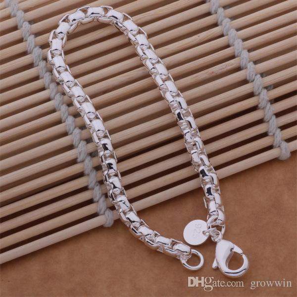 Neues koreanisches Art-Silber-Retro- Kreuz-Kasten-Kettenarmband 925 versilbert Armband-freies Verschiffen D0353