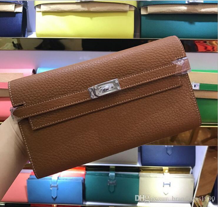 2018 Büyük marka Uzun Cüzdan Kart sahipleri Çanta Pasaport Çantaları Ile Kilit moda dana Hakiki deri cüzdan bayan Için 24 Renkler kadın