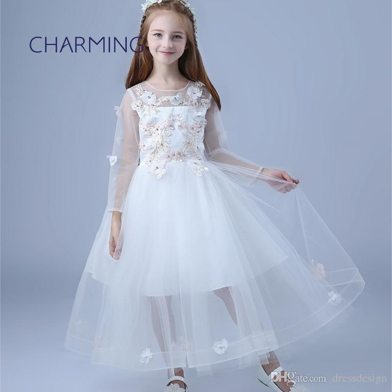 ff2991384 White Flower Girl Dresses Brand New Dresses Of Girl Round Neck Long ...