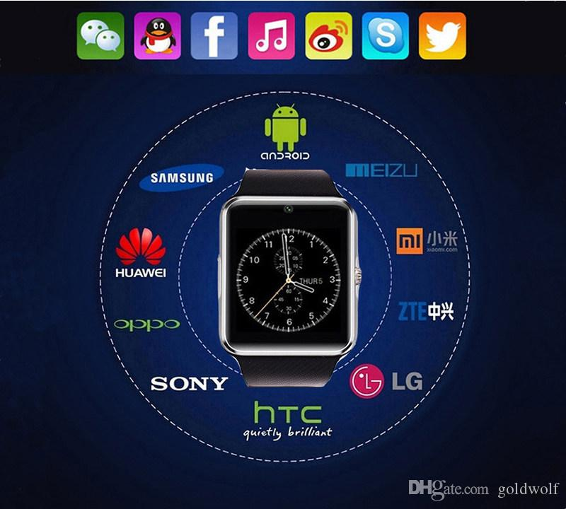 HOT GT08 Bluetooth Smart Watch con slot schede SIM e NFC Health Android Samsung e Smartphone Bracelet With Package