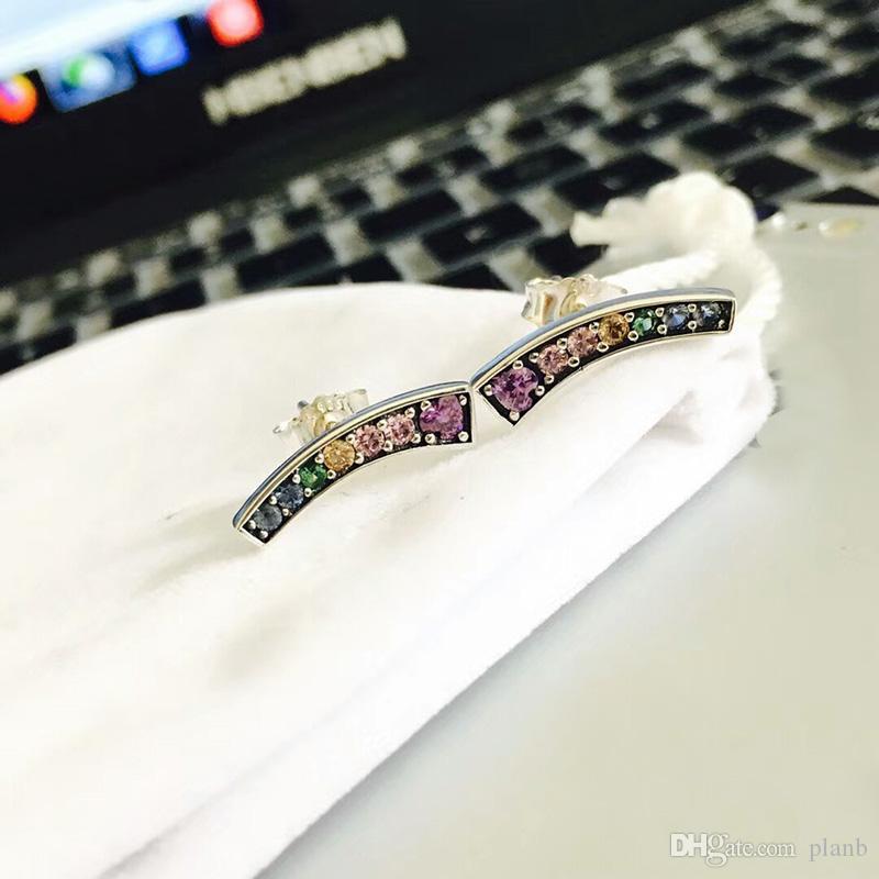 2019 جديد الأزياء الفاخرة النساء اللون كريستال قوس قزح مربط القرط ل باندورا 925 فضة القرط المجوهرات مع علبة هدية