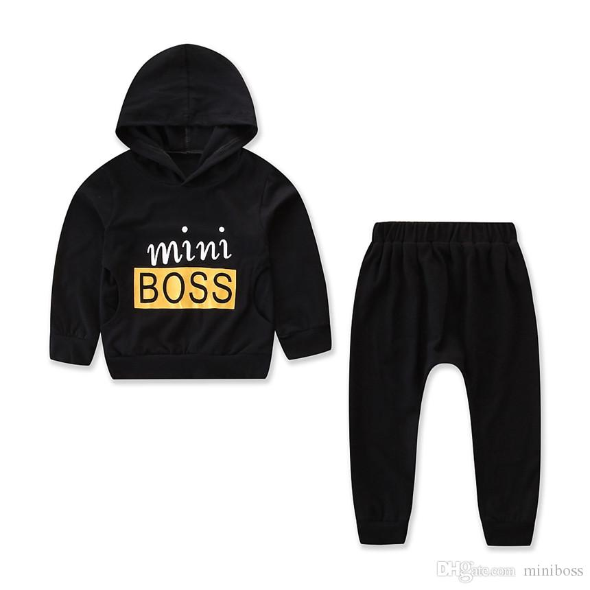 f26fdd342a0e5 Handsome Boys Black Suit Long Sleeve Hooded T-shirt Tops+boss Pants ...