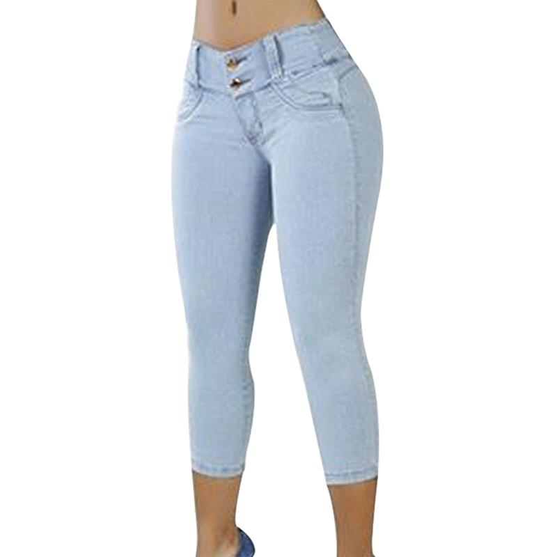 e102cb36b1e3a2 2019 Plus Size Skinny Capris Jeans Woman Female Stretch Knee Length Denim  Shorts Jeans Pants Women With High Waist Summer From Guocloth