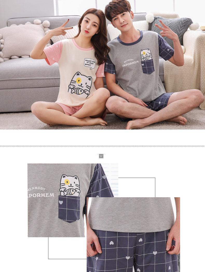 Casual Couple Pajama Sets For Women Men Cotton Cartoon Pajamas Pijama Girls Cute Short Sleeve Shorts Sleepwear Pyjama Hot Summer