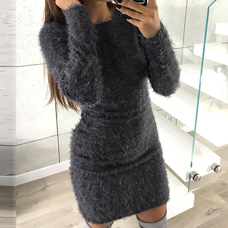 288e5b30b47b6 2019 Warm Robe Fuzzy Knitted Sweater Women Knitted Dress Femme Winter Plus  Size 2018 Autumn Long Sleeve Knit Bodycon Dresses GV033 From Yuhuicuo