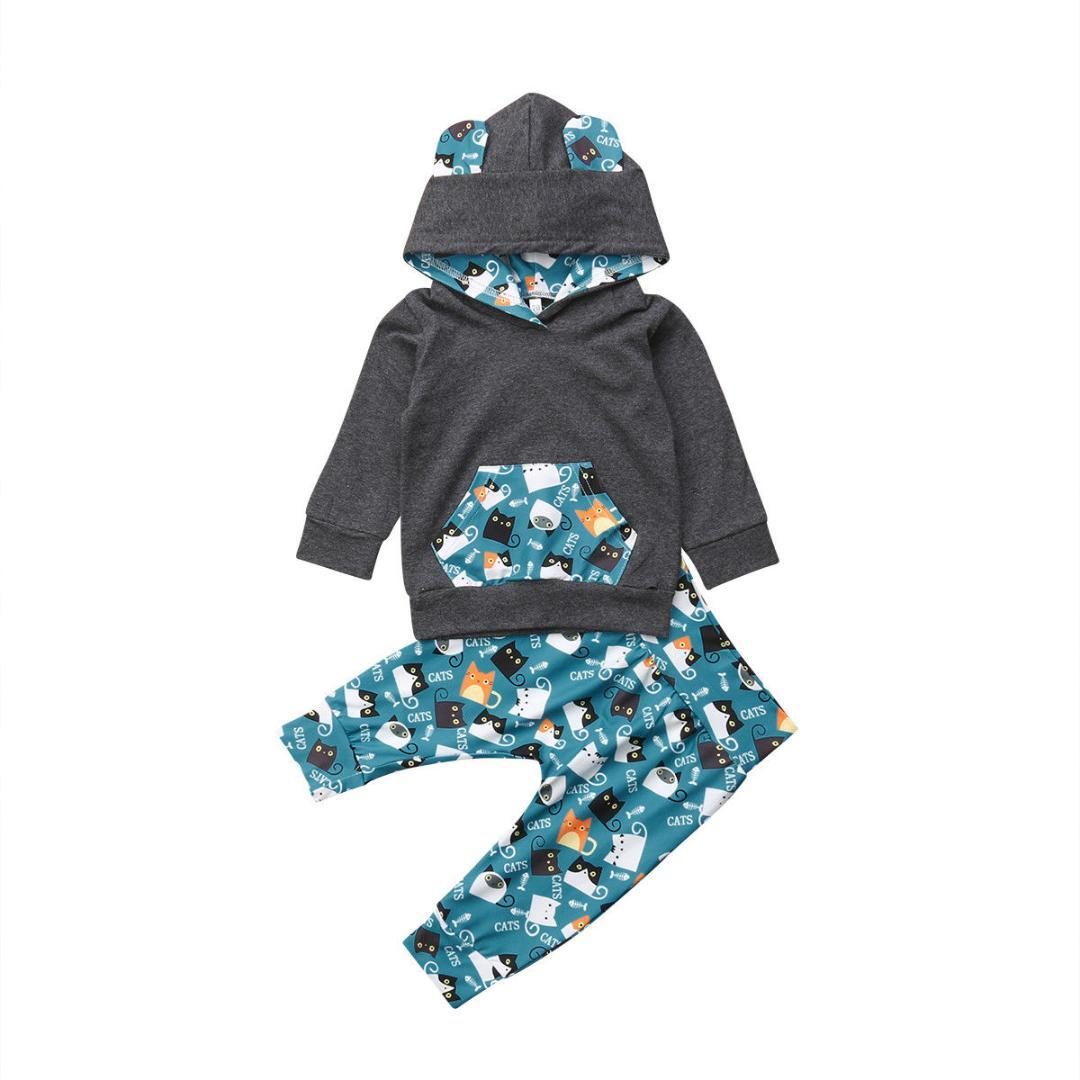 9557f9ffb78a2 Acheter Nouveau Né Enfant Bébé Garçon Fille Vêtements Ensemble Capuche Tops  Sweat + Pantalon Tenues Survêtement Automne Hiver Bébé Mignon Vêtements De  ...