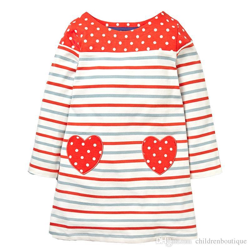 Butik Kız Giyim ile 2018 Pamuk Uzun Kollu Bebek Elbiseler Cepler Çocuklar için Tunik Jersey Elbiseler Kızlar Bebek Giysileri Çocuk Giyim