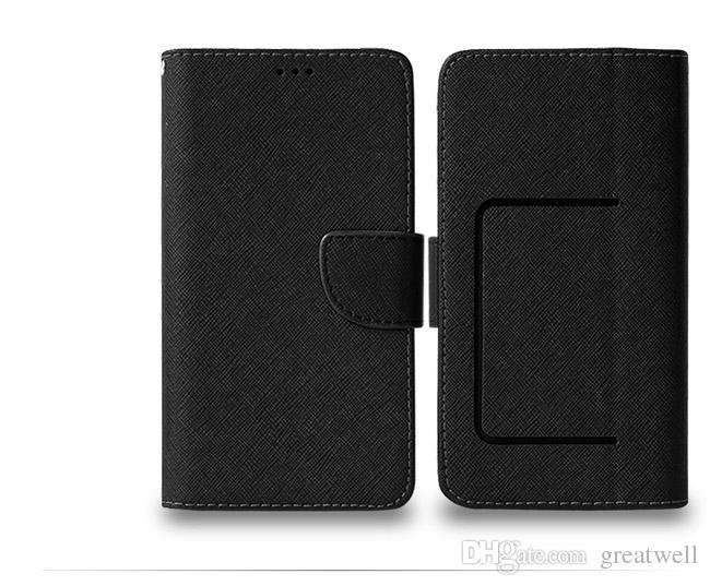 Caso de couro pu universal carteira de cartão de crédito flip case phone 3.5inch a 6.0inch para iphone samsung huawei huawei xiaomi