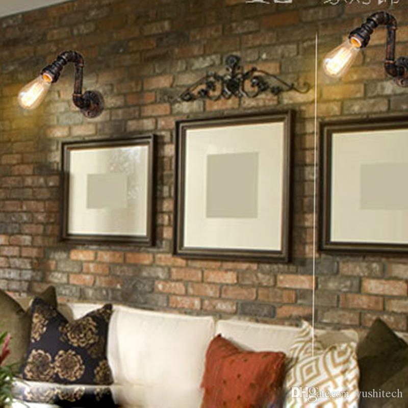 Steam Punk Loft Industrial Iron Rust Water Pipe Retro Wall Lamp Vintage E27 Sconce Lights Steampunk House Lighting Fixtures