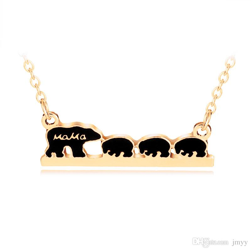 Maman Ours Collier Alliage Ours Animal Pendentif Amour Collier Maman Enfant Alliage Collier Bijoux Pour Cadeau