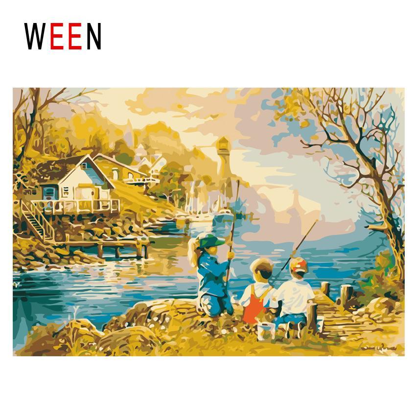 Ween Sonnenuntergang Fluss Diy Malen Nach Zahlen Abstrakte Kinder Angeln ölgemälde Auf Leinwand Kabine Cuadros Decoracion Acryl Wandkunst