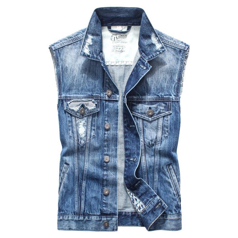 65b5afdbb3ed Acquista Gilet Di Jeans Vintage Retrò Uomo Gilet Senza Maniche In Cotone Gilet  Di Jeans Gilet Uomo Casual Casual Abbigliamento Da Lavoro A $101.53 Dal ...