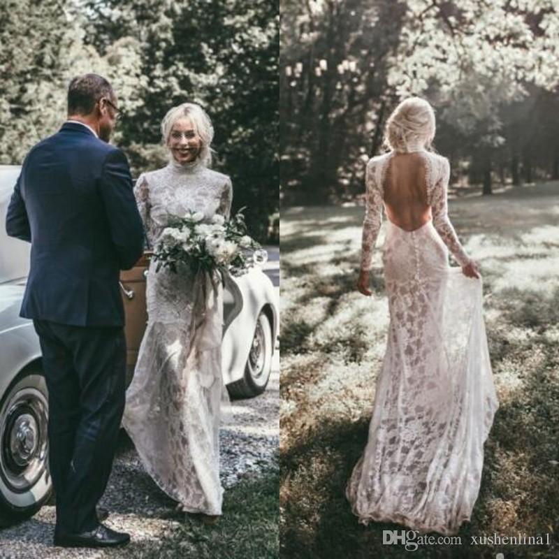2018 Boho Mermaid Full Lace Wedding Dresses High Neck Long Sleeves Chic Backless Bridal Dress Slim Fit Sexy Country Beach Wedding Gowns