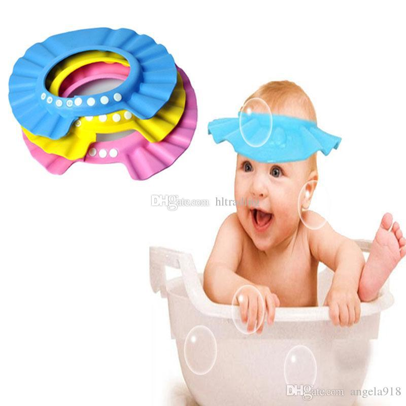 Fashion Adjustable Shower cap protect Shampoo for baby health bathing children Wash Hair Shield Hats 7 colors C3075