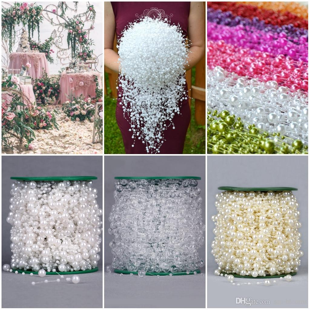 2018 8+3mm Fishing Line Artificial Pearls Beads Chain String Garland Flowers DIY Wedding Party Decoration Supply 60m/Roll D877L