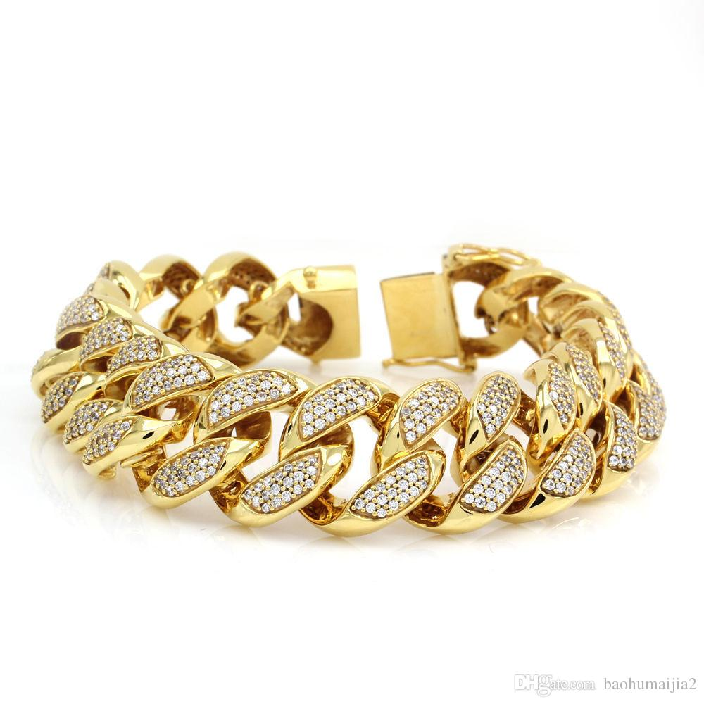 22c70dd228d 2019 Solid 14K Yellow Gold Mens Miami Cuban Curb Link Diamond Bracelet 19  Mm 8.50 From Baohumaijia2