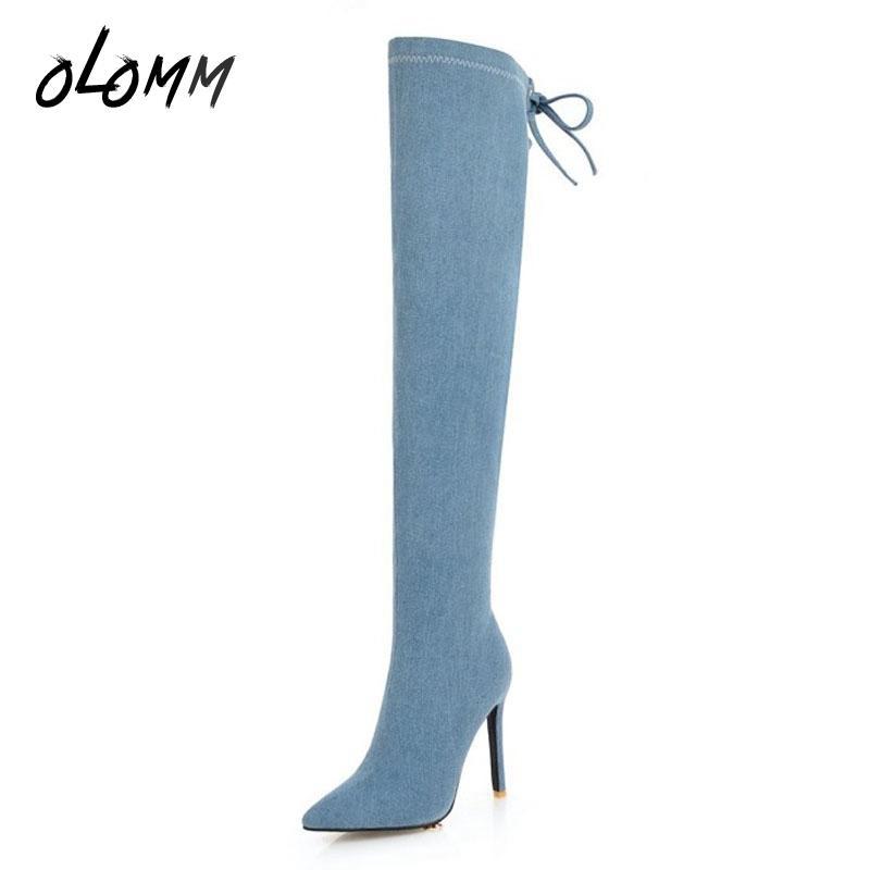 119351f7461 Compre Moda De Invierno Para Mujer Botas Largas Sobre La Rodilla Zapatos De  Talla Grande Cremallera Con Cremallera Pantalón Gusano En El Interior Punta  ...