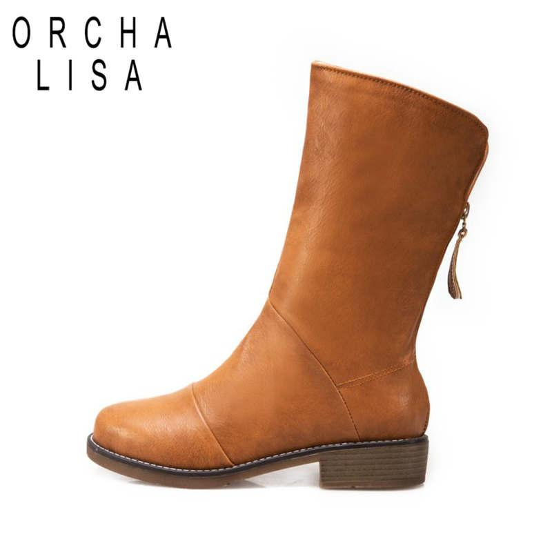 b70ba8dc8a9 ORCHA LISA Size 33 44 Fashion Black Beige Zip Up Women Shoes Woman Square  Med Heels Riding Boots Winter Female Botas Mujer C830 Knee High Boots  Riding Boots ...
