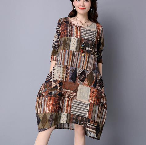 Clobee Coton Lin Imprimé Fleur Femmes Robe Vintage Ethnique Élégant Dames Robes Pleine Manche Longue Loose Femme Vestidos V301