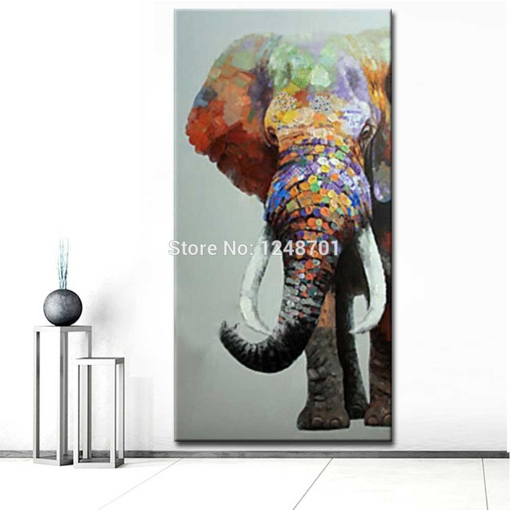 2019 Large Size Hand Painted Abstract Elephant Oil Painting On