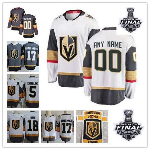 88deb517c73 Custom 2018 Stanley Cup Finals Vegas Golden Knights Jersey Gray ...