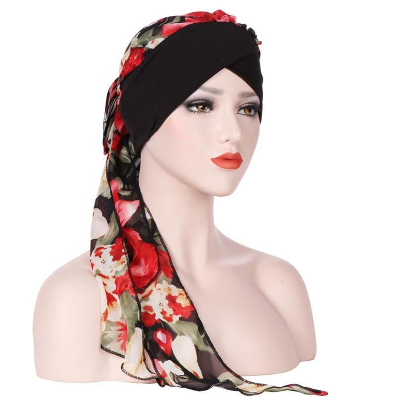 Compre Mulheres Cabeça Lenço CheHat Turbante Muçulmano Pré Amarrado Flores  Impresso Headwear Suave De Boiline f5f61bdb21c
