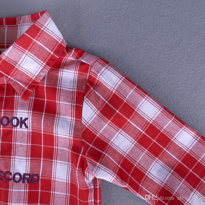 2018 Baby Boys Clothing Sets Plaid Shirts + Denim Pants Set Gentleman Spring Autumn Shirt Pants Boutique Infant Clothes Suits