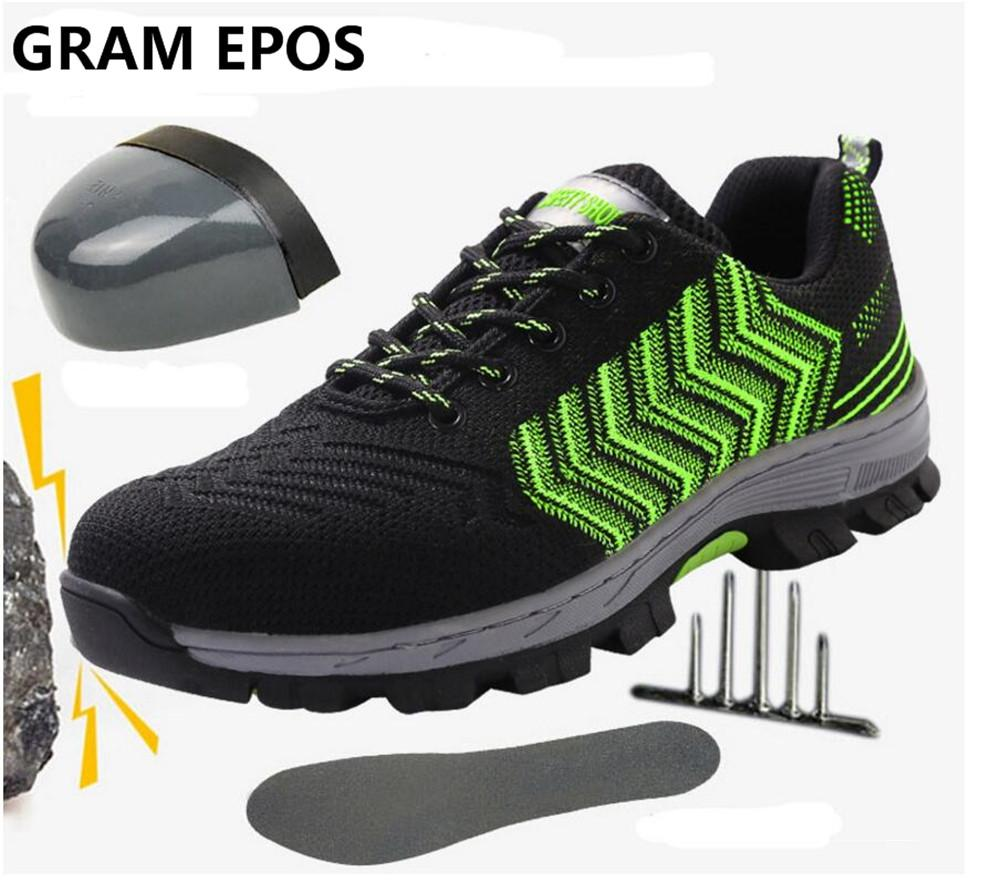 GRAM EPOS New Safety shoes men's sneaker boots with steel toe and anti-puncture breathable comfortable work shoes safety boots