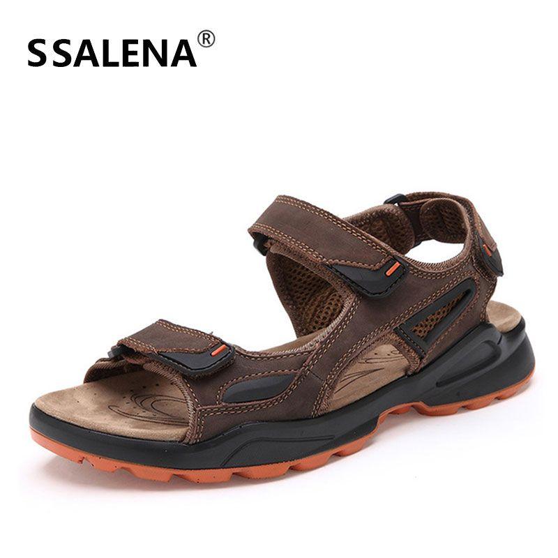 b91841114 Mens Antiskid Leather Sandals Men Comfortable Breathable Summer ...