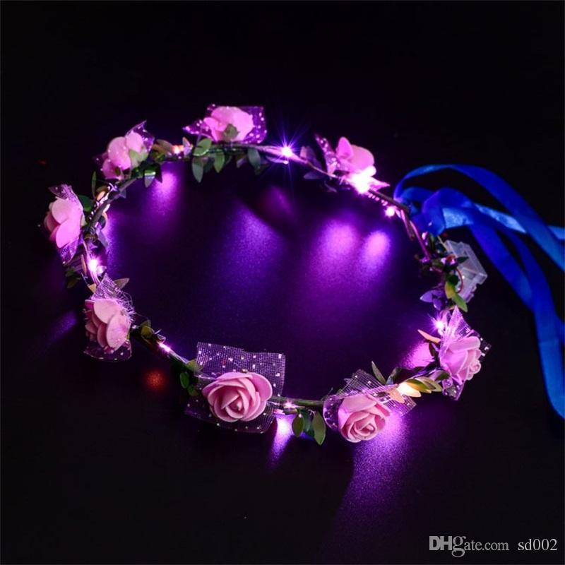 Nuevo Estilo LED Guirnalda de Flores Vestido de Novia Pelo Guirnalda de Dama de Honor de Novia Floral Crown Hawaii Seaside Decoración de Vacaciones Accesorios 3jt YY
