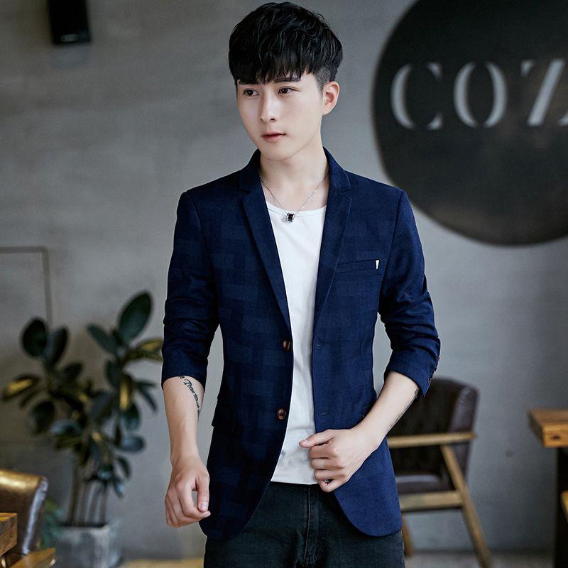 2019 2018 Autumn Men'S Striped Plaid Blazer Jackets Slim Elegant Suit Coats  Men Business Casual Teen Male Suit Jacket Size S 3XL From Vikey06, ...