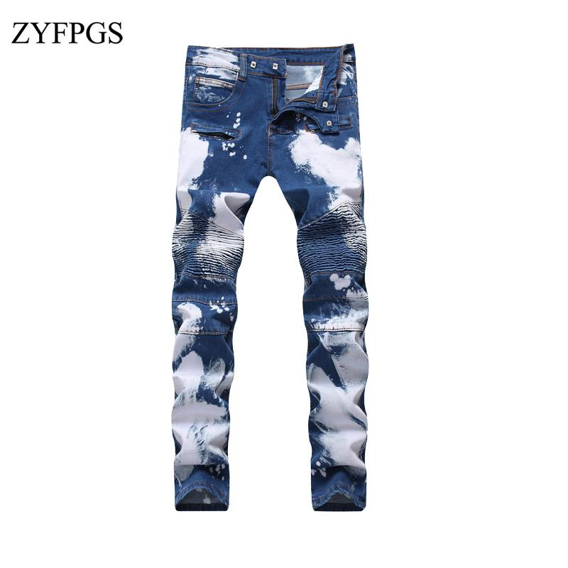 8e5c2737 ZYFPGS Men Ripped Levi Jeans Elasticity High Quality Hip Hop Men's Straight  Washed Jean Skinny Jeans Plus Size Male Pants 1020
