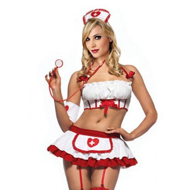 2018 Mujeres Traje de Enfermera Atractiva Lencería Erótica Juego de rol  Uniforme de Enfermera Conjunto Porno Erótico Sexy Lencería Falda de  G-string 25 S923 3a18af743d4d