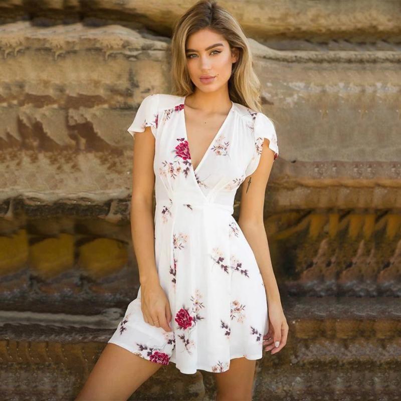 10da0b288a6 Women Summer Boho Crossover V Neck Vintage Floral Swing Dress Boho Beach Sundress  Short Ruffle Sleeve Mini Dress Cute White Summer Dresses Clothing Dresses  ...
