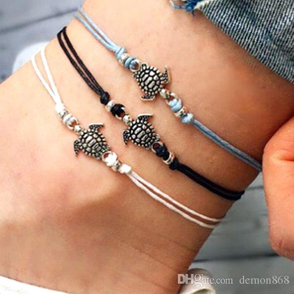 Wax Cord Foot Chain for Women Sliver Plated Turtle Barefoot Sandals Summer Beach Ankle Bracelet