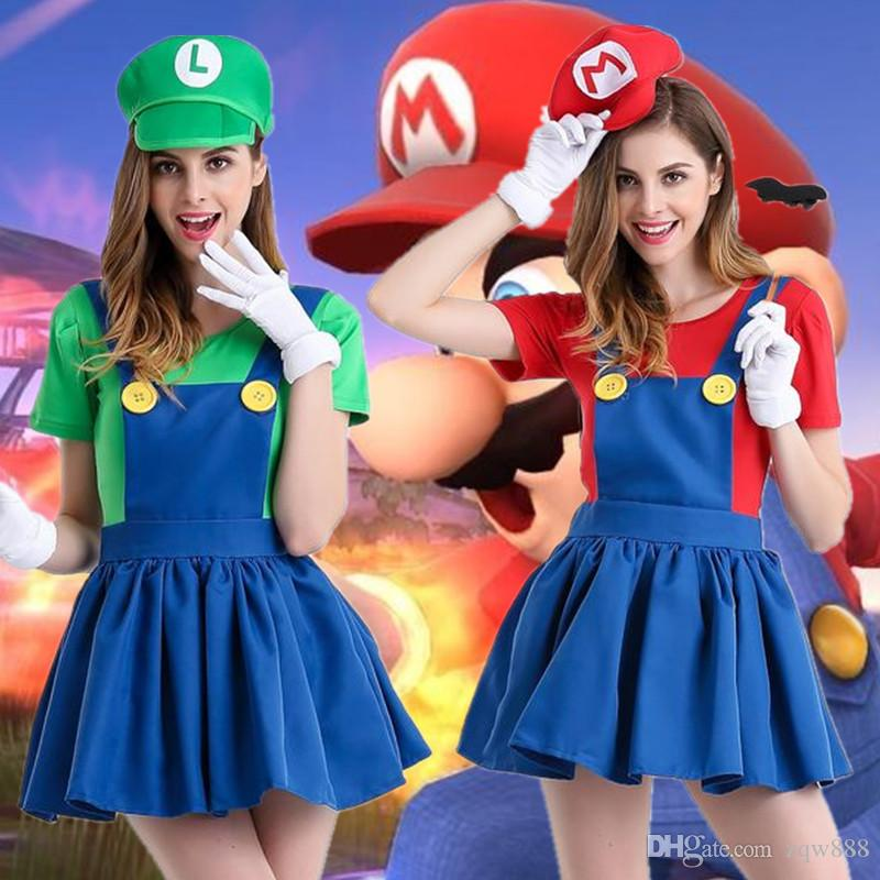 b91e6e8a0767b 4 Size M-XXL New Super Mario Bros Cosplay Mario And Luigi Uniform Clothing  Skirt For Girls Party Best Gifts