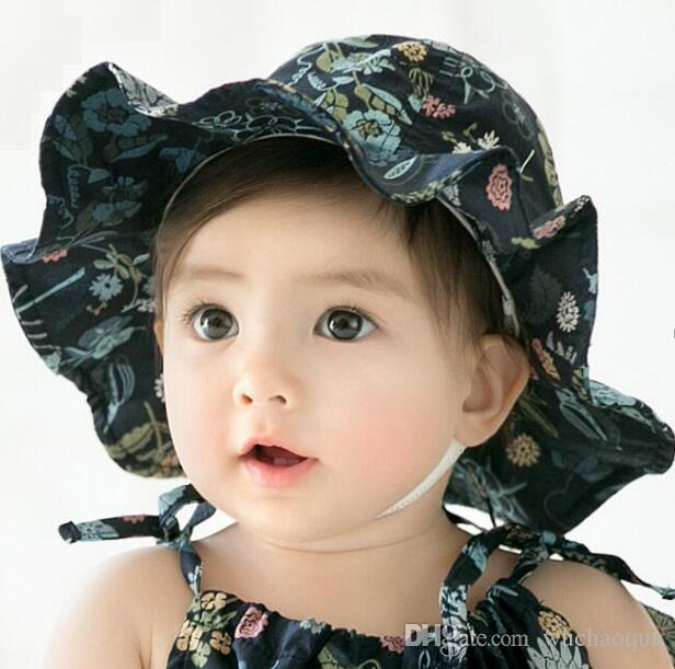 4ba1d8237f9 2019 2018 Summer Fashion Girls Hats Floral Infant Summer Hats Princess  Girls Bucket Hat Cotton Sun Hat Baby Caps Flower Baby Girls Caps From  Wuchaoqun