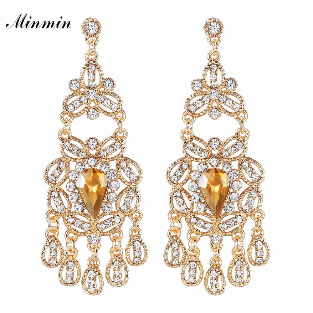 Minmin Sparkling Crystal Chandelier Dangle Earrings for Woman ... b53309daaddc