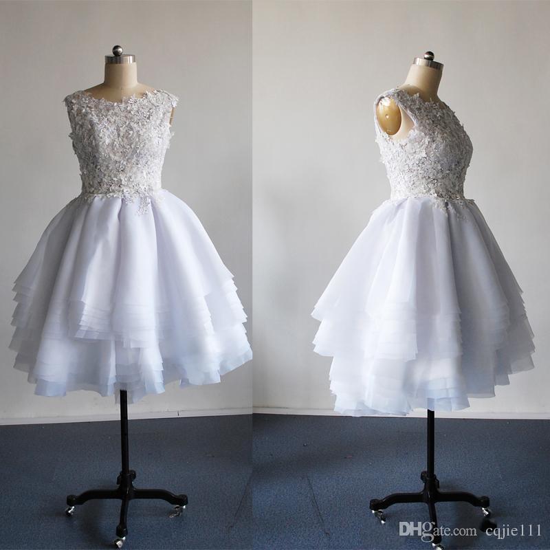 201 New A Line Crew See Through Back Lunghezza del ginocchio Tulle Abiti da sposa con applicazioni vestidos de novia 021