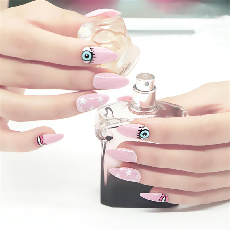 False Tips Cute Eyes Pink Color Oval Stiletto Pointy Full False Tips ...