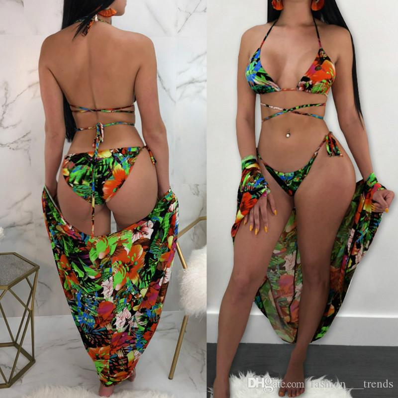 a9645a1eed317 Bikini + Cove Up 3 Pieces Sexy Swimsuit Floral Print Bandage Swimsuit Set Bathing  Suit Summer Bathing Suit 3 Piece Bikinis Beach Feminino