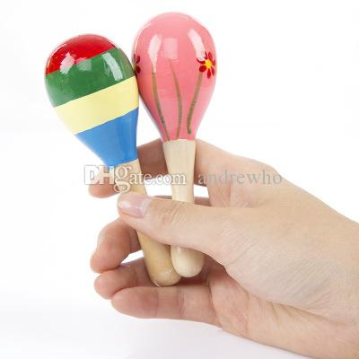 Colorful Sand Hammer Rattle Infant Mini Wooden Maracas Child madera Musical Instrument Baby Shaker Children Gift Toy DHL Ship