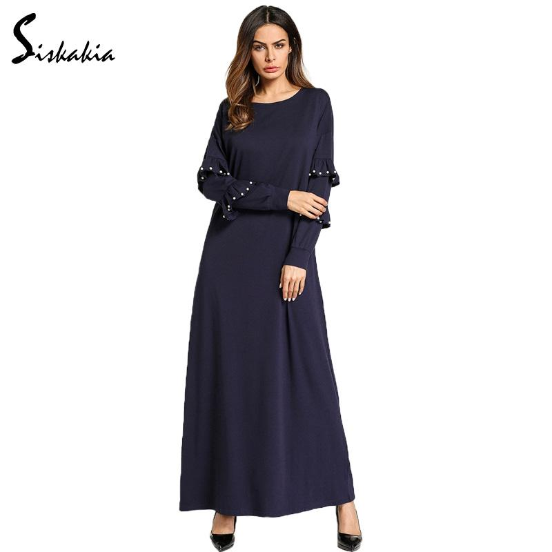 2019 Siskakia Solid Women Robes Long Sleeve Maxi Dress Autumn 2018 Muslim  Fashion Ruffles Beading Basic Dresses Navy Blue Female New From Chikui cc80d7f546