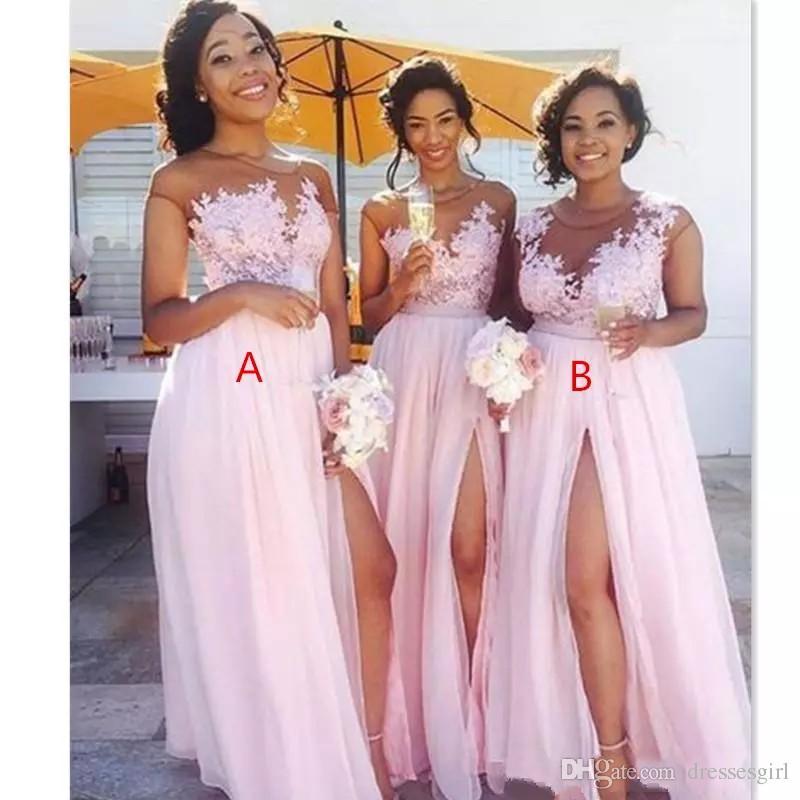 5 Gorgeous Trendy Wedding Themes For 2020: 2019 Cheap Chiffon Blush Pink Bridesmaid Dresses Appliqued