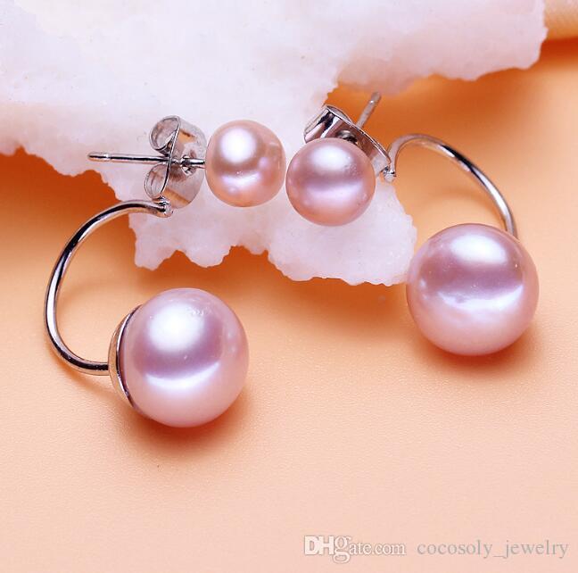 ff5ae786b176 AAA Clásico Doble Perla Pendientes de Joyería de Moda Elegante Doble Blanco  Perla de Agua Dulce Earing Cuff Para Mujeres Chica 2019 Nuevo